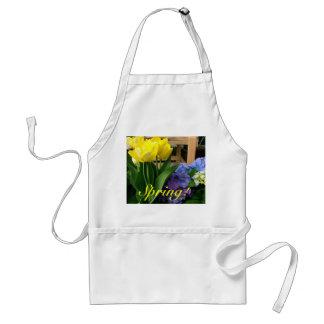 Hydrangea azul amarillo de los tulipanes delantal