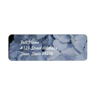 Hydrangea azul claro etiquetas de remite