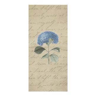 Hydrangea azul del vintage con caligrafía antigua plantilla de lona