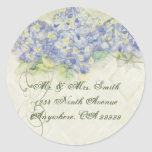 Hydrangea azul del vintage - pegatinas del sello etiqueta redonda