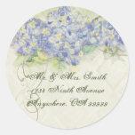 Hydrangea azul del vintage - pegatinas del sello pegatina redonda