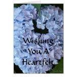 Hydrangea azul en forma de corazón tarjeta
