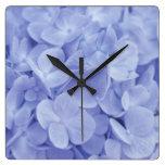 Hydrangea azul reloj de pared