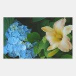Hydrangea azul rosado del lirio rectangular pegatina