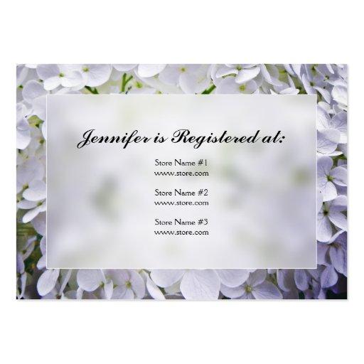 hydrangea baby shower registry cards business card templates zazzle. Black Bedroom Furniture Sets. Home Design Ideas