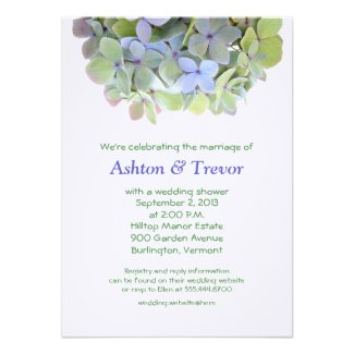Hydrangea Banner Wedding Shower Invitation