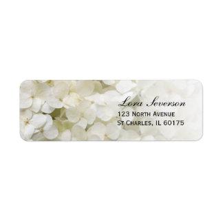 Hydrangea blanco floral etiquetas de remite