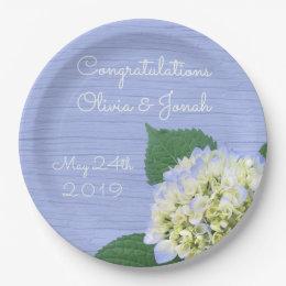 Hydrangea Bloom Blue Wood Grain Wedding Paper Plate