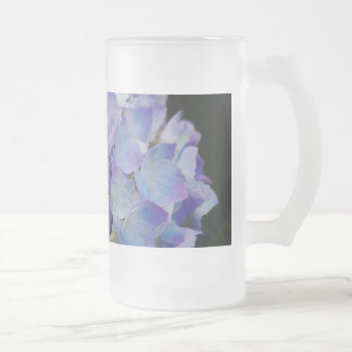 Hydrangea Blooms Frosted Glass Beer Mug