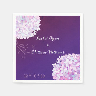 Hydrangea Blooms Plum Wedding Paper Napkins