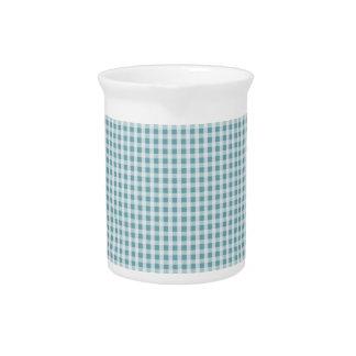 Hydrangea Blue Gingham Check Plaid Pattern Beverage Pitcher