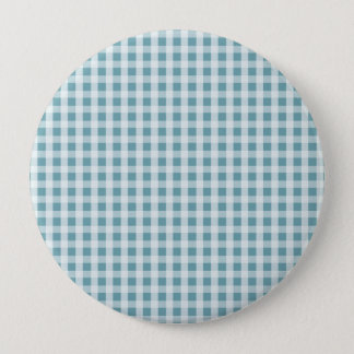 Hydrangea Blue Gingham Check Plaid Pattern Button
