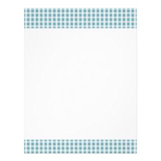 Hydrangea Blue Gingham Check Plaid Pattern Letterhead