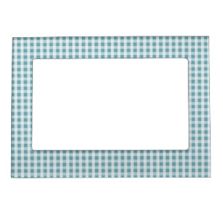 Hydrangea Blue Gingham Check Plaid Pattern Magnetic Picture Frame
