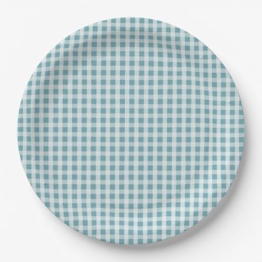 Beach Themed Hydrangea Blue Gingham Check Plaid Pattern Paper Plate