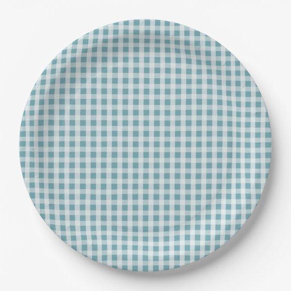 Hydrangea Blue Gingham Check Plaid Pattern Paper Plate