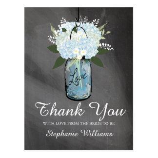 Hydrangea Blue Mason Jar Chalkboard | Bride to Be Postcard