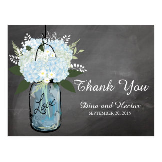 Hydrangea Blue Mason Jar Chalkboard | Thank You Postcard