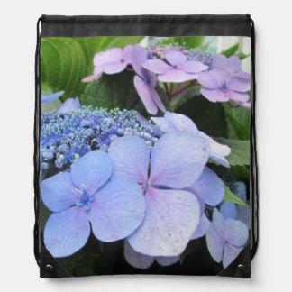Hydrangea Blue Purple Pretty Flower Drawstring Backpack