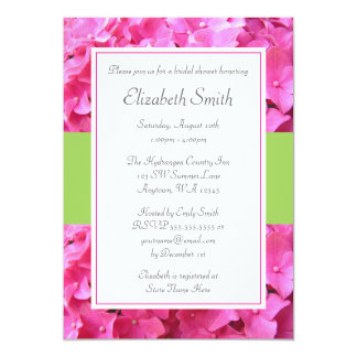 Hydrangea Border Pink Green Bridal Shower 5x7 Paper Invitation Card