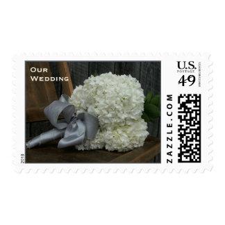 Hydrangea Bouquet & Barn Wood Wedding Stamp
