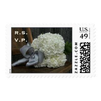 Hydrangea Bouquet & Barn Wood Wedding R.S.V.P. Postage