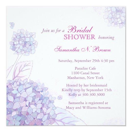 Hydrangea Bridal Shower Invitations