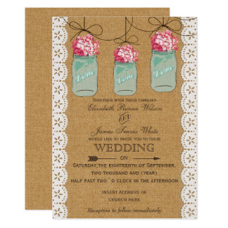 hydrangea burlap Rustic mason jar wedding Card