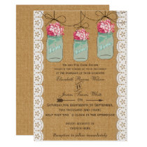 hydrangea burlap Rustic mason jar wedding Card