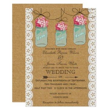 hydrangea burlap Rustic mason jar wedding invites