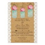 "hydrangea burlap Rustic mason jar wedding invites 5"" X 7"" Invitation Card"