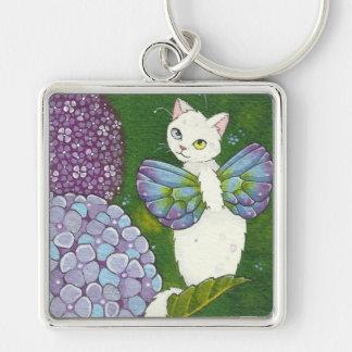 Hydrangea Cat Fairy Square Keychain Moussart