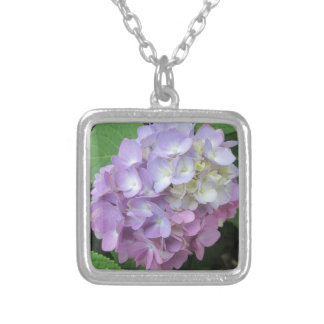 Hydrangea Colorful Flower Silver Plated Necklace