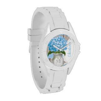 Hydrangea con monograma del azul del tarro de