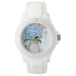 Hydrangea con monograma del azul del tarro de relojes de pulsera