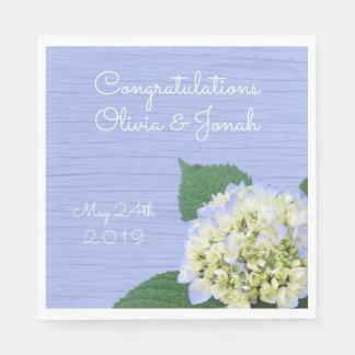 Hydrangea Congratulations Wood Grain Wedding Napkin