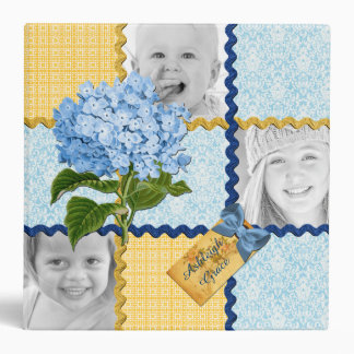 Hydrangea Custom Photo Quilt Frame Blue Yellow 3 Ring Binder