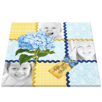 Hydrangea Custom Photo Quilt Frame Blue Yellow Canvas Print