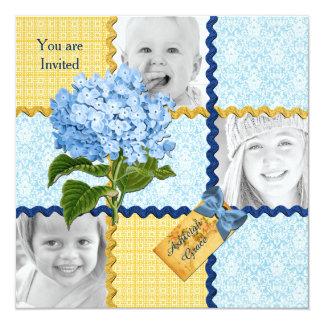 Hydrangea Custom Photo Quilt Frame Blue Yellow Card