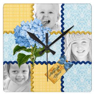 Hydrangea Custom Photo Quilt Frame Blue Yellow Square Wallclocks