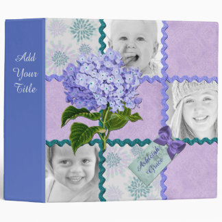Hydrangea Custom Photo Quilt Frame Purple Teal 3 Ring Binder