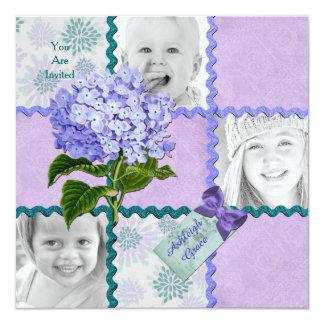 Hydrangea Custom Photo Quilt Frame Purple Teal Card