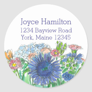 Hydrangea Daisy Rose Watercolor Flowers Address Classic Round Sticker