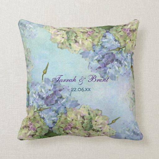 Hydrangea de la acuarela floral almohada