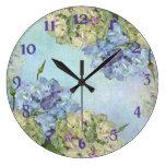 Hydrangea de la acuarela floral reloj redondo grande