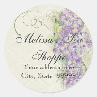 Hydrangea de la lila de la apariencia vintage - pegatina redonda