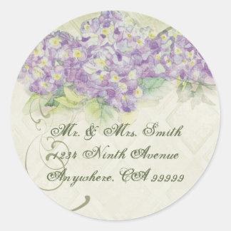 Hydrangea de la lila del vintage - pegatinas del pegatina redonda