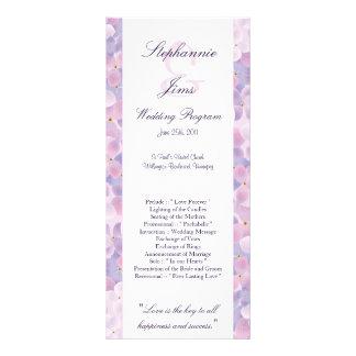 Hydrangea de la púrpura del programa del boda 25 4 tarjeta publicitaria personalizada