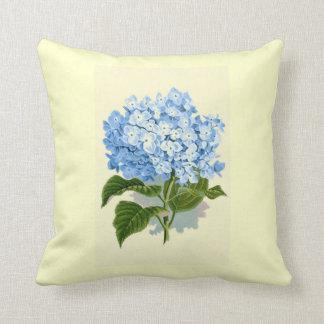 Hydrangea del azul del vintage cojín