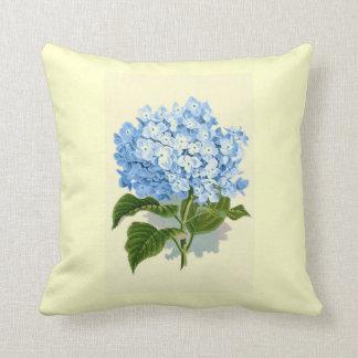 Hydrangea del azul del vintage cojines